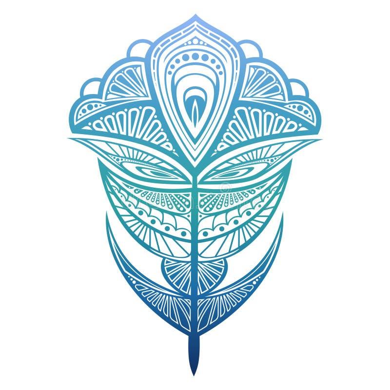 Ζωηρόχρωμη διανυσματική απεικόνιση φτερών peacock Φτερό Abtract για την τυπωμένη ύλη, σχέδιο, αυτοκόλλητες ετικέττες διανυσματική απεικόνιση