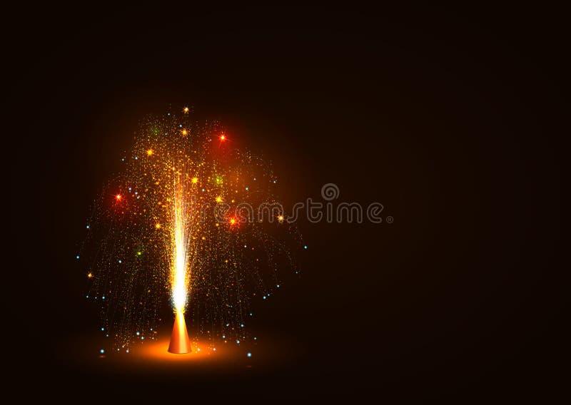 Ζωηρόχρωμη διανυσματική πηγή ηφαιστείων που εκπέμπει τους σπινθήρες - λίγο πυροτέχνημα ελεύθερη απεικόνιση δικαιώματος
