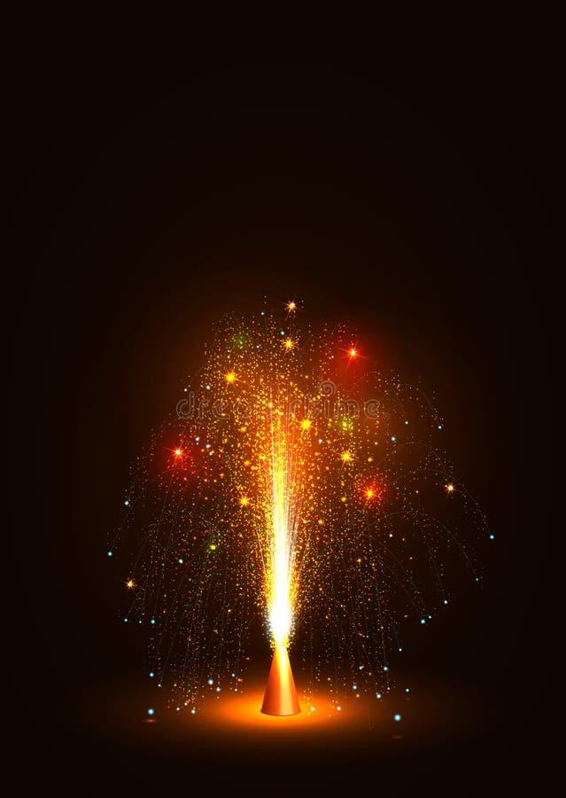 Ζωηρόχρωμη διανυσματική πηγή ηφαιστείων που εκπέμπει τους σπινθήρες - λίγο πυροτέχνημα διανυσματική απεικόνιση