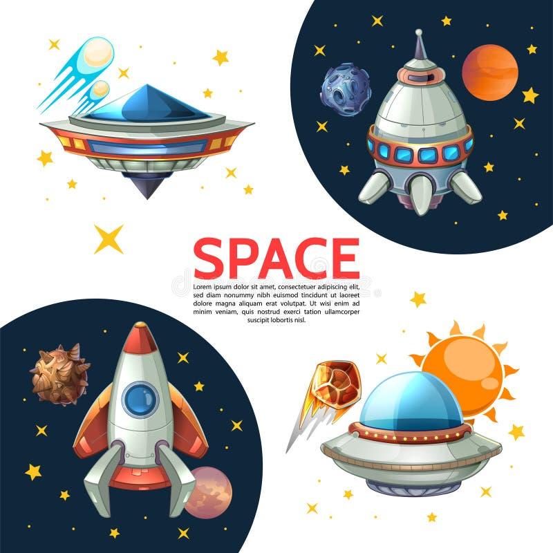 Ζωηρόχρωμη διαστημική αφίσα κινούμενων σχεδίων απεικόνιση αποθεμάτων