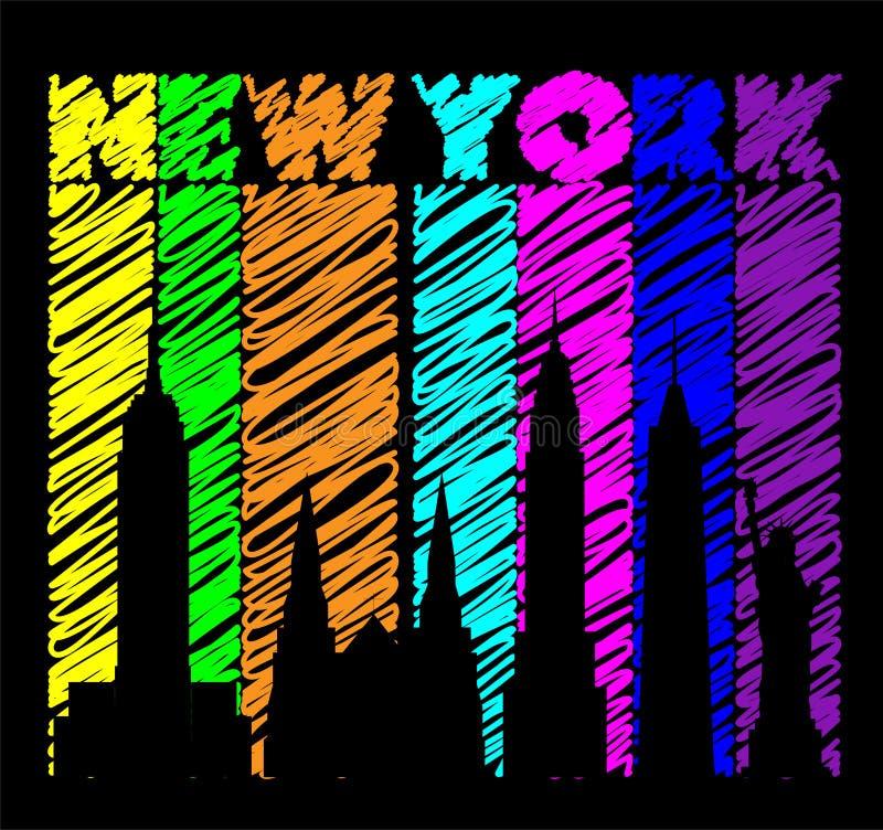 Ζωηρόχρωμη εγγραφή της Νέας Υόρκης Διάνυσμα με τα εικονίδια ταξιδιού στο ζωηρόχρωμο υπόβαθρο Κάρτα ταξιδιού απεικόνιση αποθεμάτων