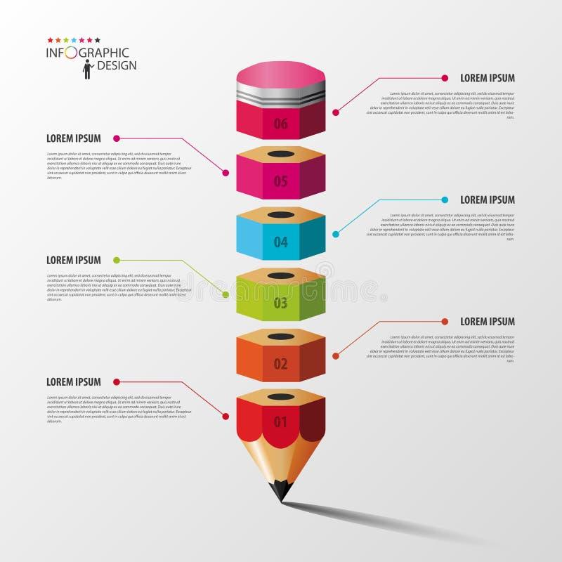 Ζωηρόχρωμη επιλογή βημάτων Infographics μολυβιών διάνυσμα απεικόνιση αποθεμάτων
