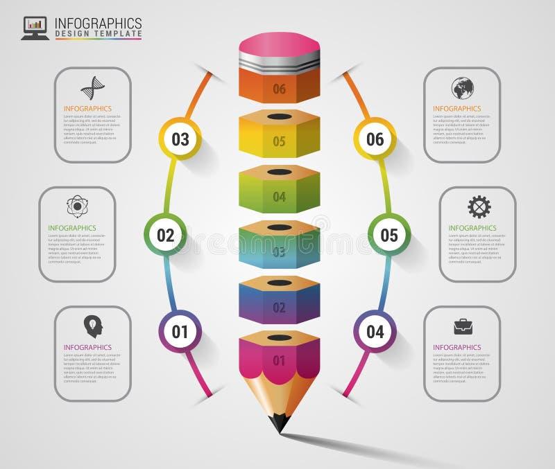 Ζωηρόχρωμη επιλογή βημάτων Infographics μολυβιών σύγχρονο πρότυπο σχεδίο&upsil επίσης corel σύρετε το διάνυσμα απεικόνισης διανυσματική απεικόνιση