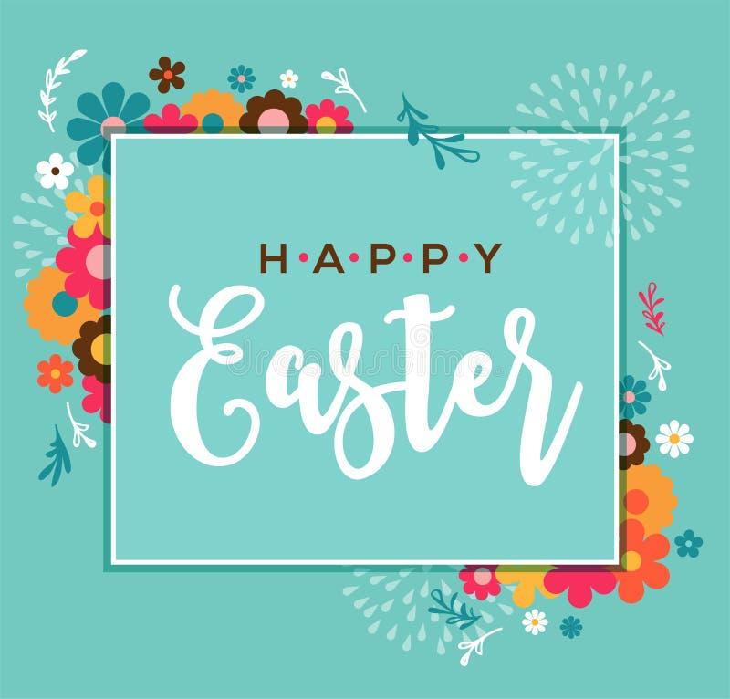Ζωηρόχρωμη ευτυχής ευχετήρια κάρτα Πάσχας με το κουνέλι, το λαγουδάκι, τα αυγά και τα εμβλήματα απεικόνιση αποθεμάτων
