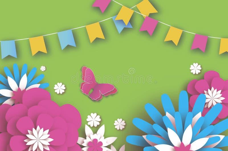 Ζωηρόχρωμη ευτυχής Floral ευχετήρια κάρτα Λουλούδια περικοπών εγγράφου, πεταλούδα Λουλούδι Origami Γιρλάντα σημαιών dof ανθών αζα διανυσματική απεικόνιση