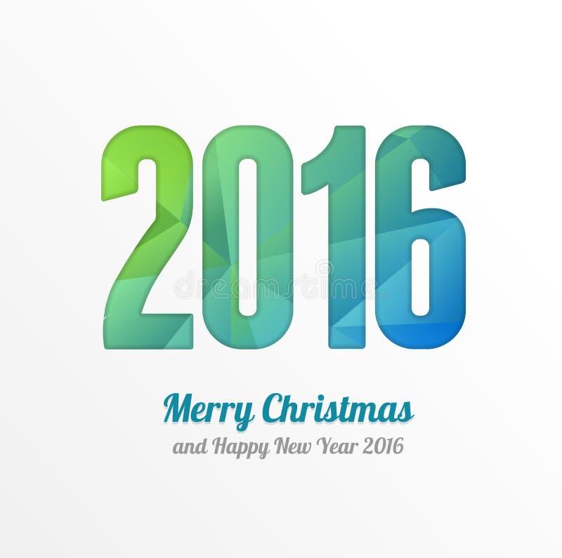 Ζωηρόχρωμη ευχετήρια κάρτα καλής χρονιάς 2016 διάνυσμα ελεύθερη απεικόνιση δικαιώματος