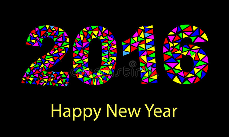 Ζωηρόχρωμη ευχετήρια κάρτα καλής χρονιάς 2016 που γίνεται στο polygonal ύφος origami ελεύθερη απεικόνιση δικαιώματος