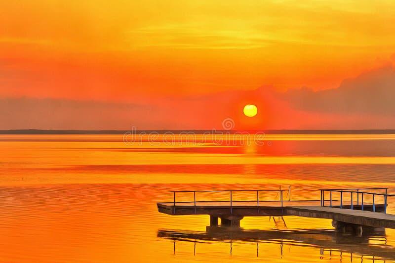 Ζωηρόχρωμη ζωγραφική του ηλιοβασιλέματος πέρα από τη λίμνη νερού στοκ φωτογραφίες