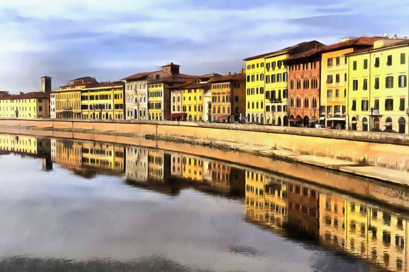 Ζωηρόχρωμη ζωγραφική του ποταμού Arno στοκ εικόνες