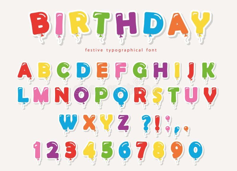 Ζωηρόχρωμη διακοπή εγγράφου πηγών μπαλονιών Αστείες επιστολές και αριθμοί ABC Για τη γιορτή γενεθλίων, ντους μωρών διανυσματική απεικόνιση
