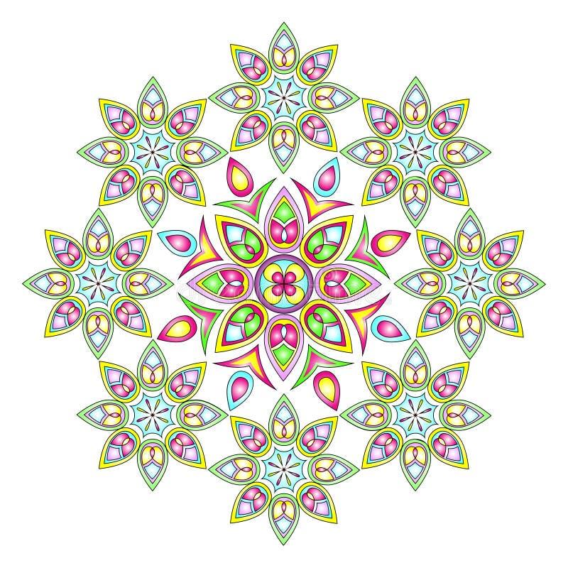 Ζωηρόχρωμη διανυσματική απεικόνιση Mandala στοκ εικόνες
