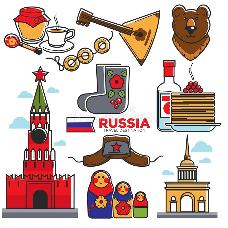 Ζωηρόχρωμη διανυσματική αφίσα πραγμάτων της Ρωσίας παραδοσιακή στο λευκό διανυσματική απεικόνιση