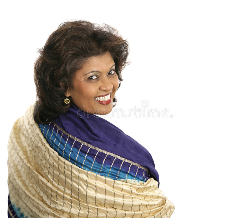 ζωηρόχρωμη ινδική γυναίκα σαλιών στοκ φωτογραφία