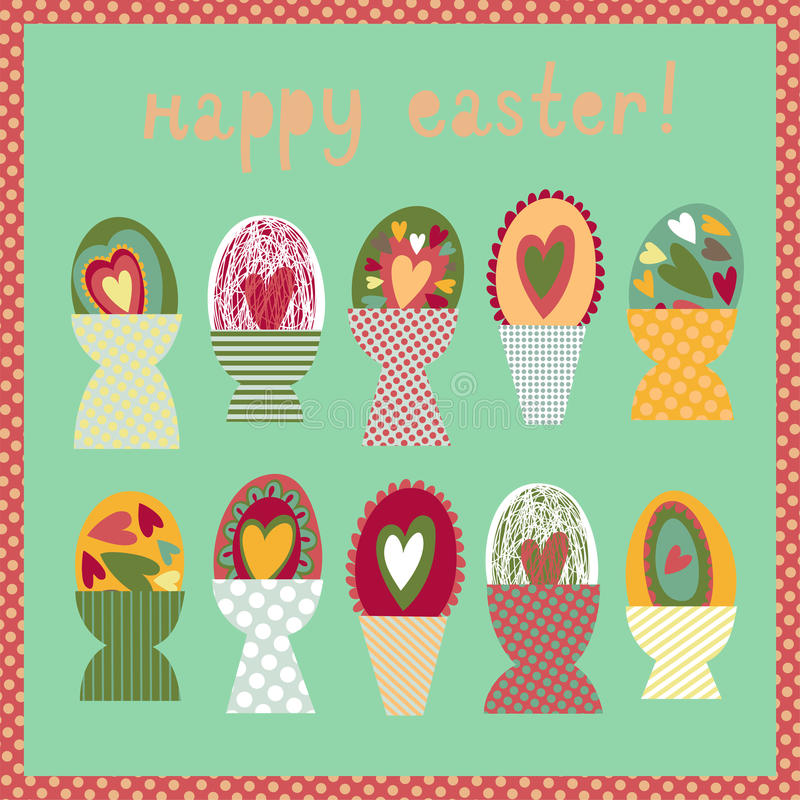 Ζωηρόχρωμη κάρτα με τα φλυτζάνια αυγών Πάσχας διανυσματική απεικόνιση