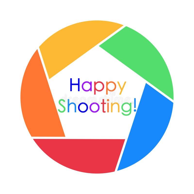 Ζωηρόχρωμη κάρτα με τον ευτυχή χαιρετισμό πυροβολισμού επάνω διανυσματική απεικόνιση