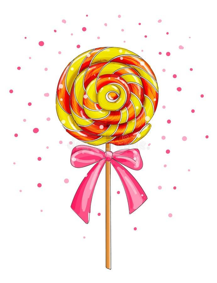 Ζωηρόχρωμη καραμέλα lollipop, διανυσματική απεικόνιση κινούμενων σχεδίων απεικόνιση αποθεμάτων