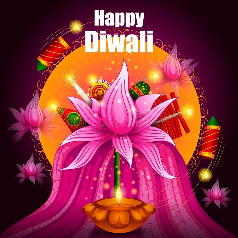 Ζωηρόχρωμη κροτίδα πυρκαγιάς με το διακοσμημένο diya για τον ευτυχή εορτασμό διακοπών φεστιβάλ Diwali του υποβάθρου χαιρετισμού τ ελεύθερη απεικόνιση δικαιώματος