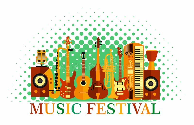 ζωηρόχρωμη μουσική ανασκό&p Όργανα μουσικής Αφίσα φεστιβάλ μουσικής Διανυσματική τζαζ απεικόνισης, βράχος διανυσματική απεικόνιση