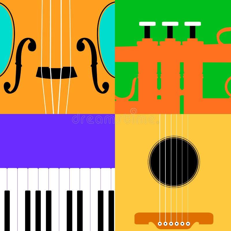 ζωηρόχρωμη μουσική οργάνων ανασκόπησης διανυσματική απεικόνιση