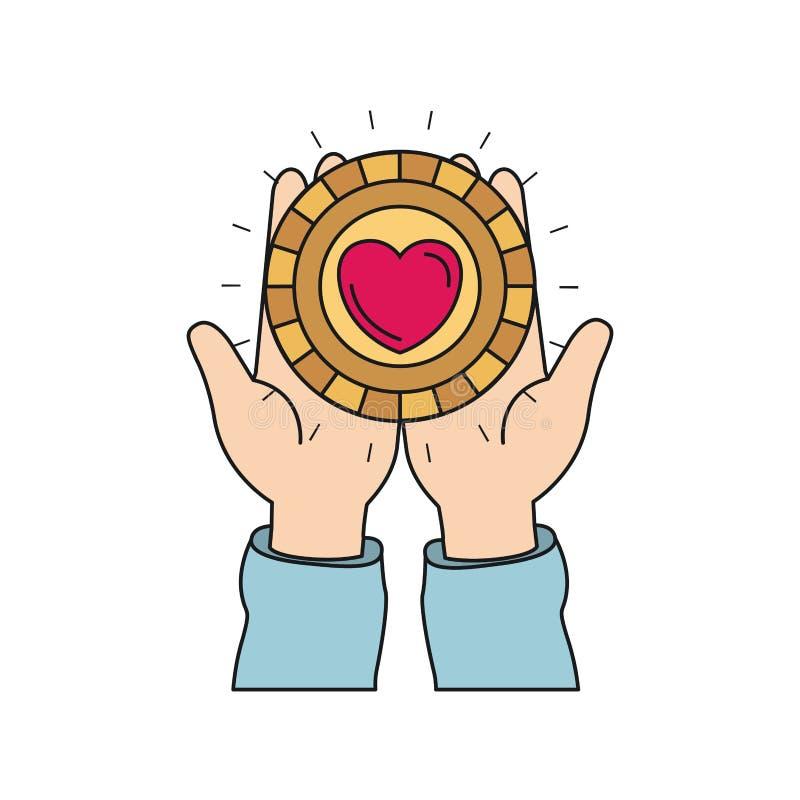 Ζωηρόχρωμη μπροστινή άποψη σκιαγραφιών των χεριών που κρατά στις παλάμες ένα νόμισμα με τη μορφή καρδιών μέσα ελεύθερη απεικόνιση δικαιώματος