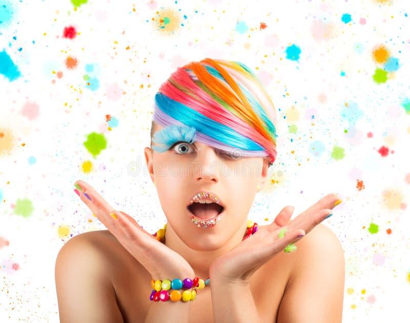Ζωηρόχρωμη μόδα ουράνιων τόξων makeup στοκ φωτογραφία