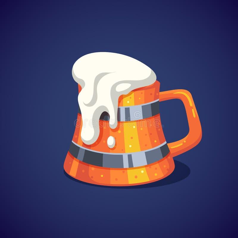 Ζωηρόχρωμη ξύλινη κούπα μπύρας με τον αφρό διανυσματική απεικόνιση