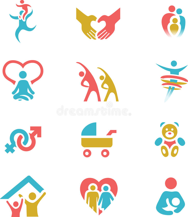 Οικογένεια και καθορισμένη διανυσματική απεικόνιση εικονιδίων υγείας απεικόνιση αποθεμάτων
