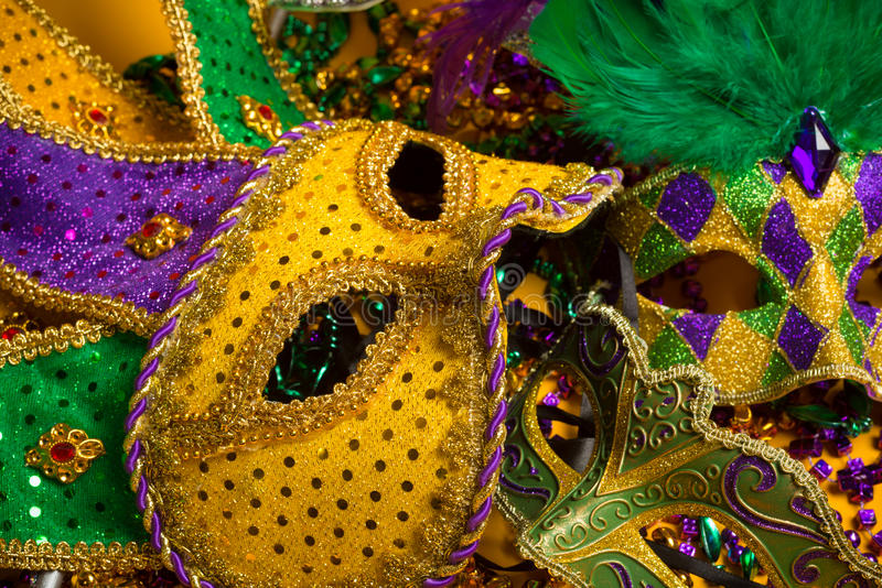 Ζωηρόχρωμη ομάδα Mardi Gras ή ενετικών μασκών στοκ φωτογραφία με δικαίωμα ελεύθερης χρήσης