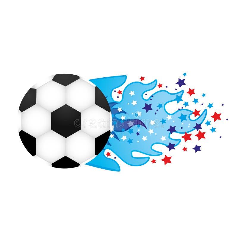 ζωηρόχρωμη ολυμπιακή φλόγα με τα αστέρια και τη σφαίρα ποδοσφαίρου ελεύθερη απεικόνιση δικαιώματος