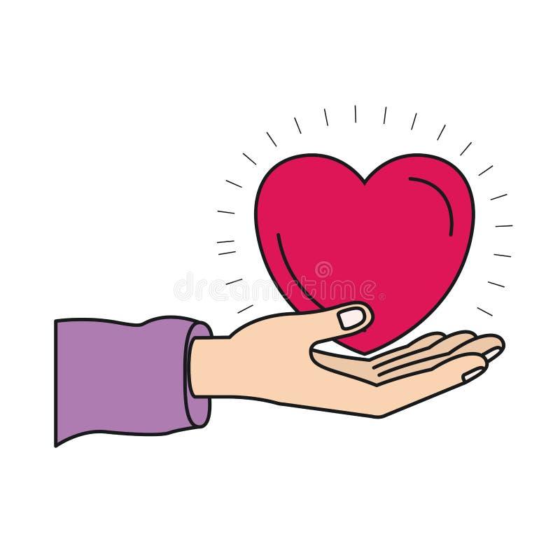 Ζωηρόχρωμη παλάμη χεριών σκιαγραφιών που δίνει ένα σύμβολο φιλανθρωπίας καρδιών απεικόνιση αποθεμάτων