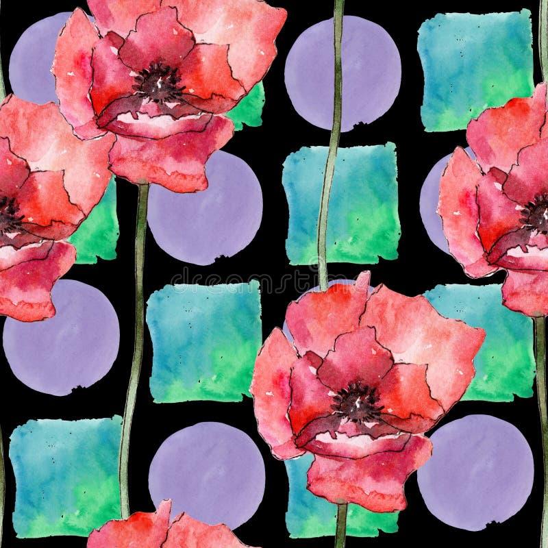 Ζωηρόχρωμη παπαρούνα Floral βοτανικό λουλούδι Άνευ ραφής πρότυπο ανασκόπησης Σύσταση τυπωμένων υλών ταπετσαριών υφάσματος απεικόνιση αποθεμάτων