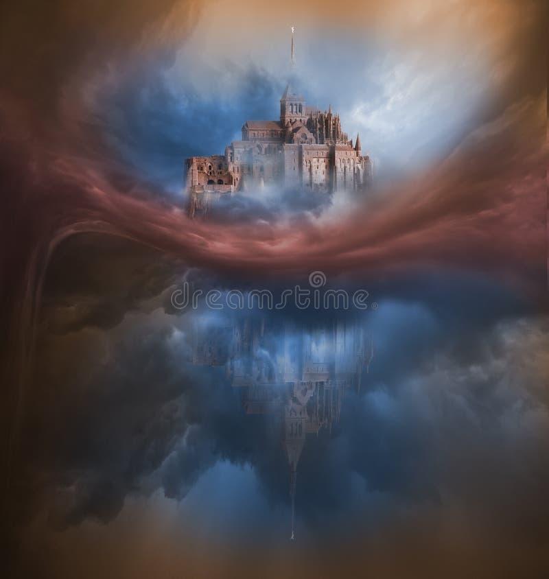 Ζωηρόχρωμη παραλλαγή σύννεφων με Mont Saint-Michel διανυσματική απεικόνιση