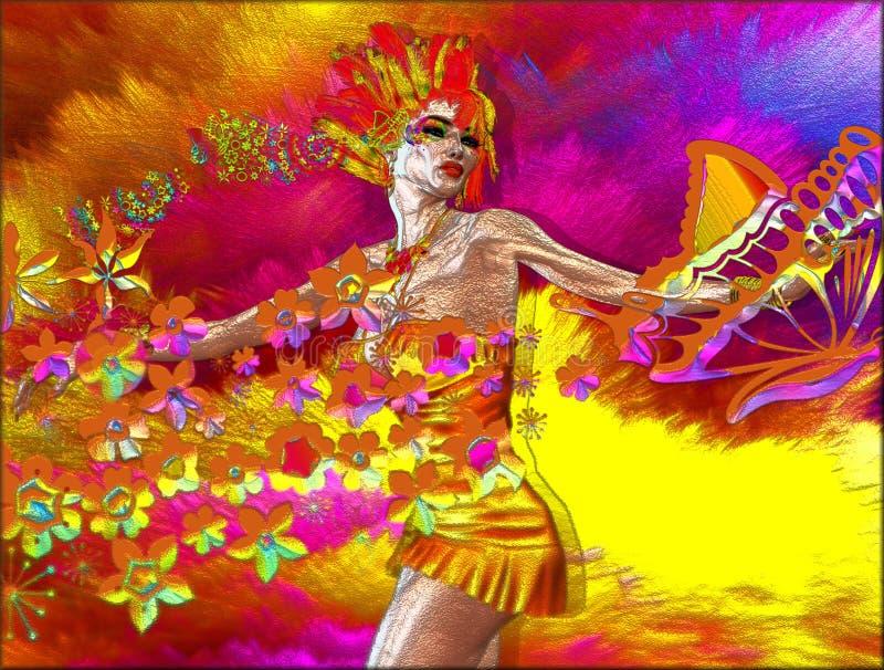 Ζωηρόχρωμη περίληψη της γυναίκας με τα λουλούδια και των πεταλούδων ελεύθερη απεικόνιση δικαιώματος