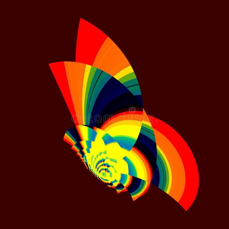Ζωηρόχρωμη πεταλούδα ουράνιων τόξων Αφηρημένο psychedelic σχέδιο Όμορφη γεωμετρική απεικόνιση τέχνης Αστεία διακοσμητική σύνθεση διανυσματική απεικόνιση