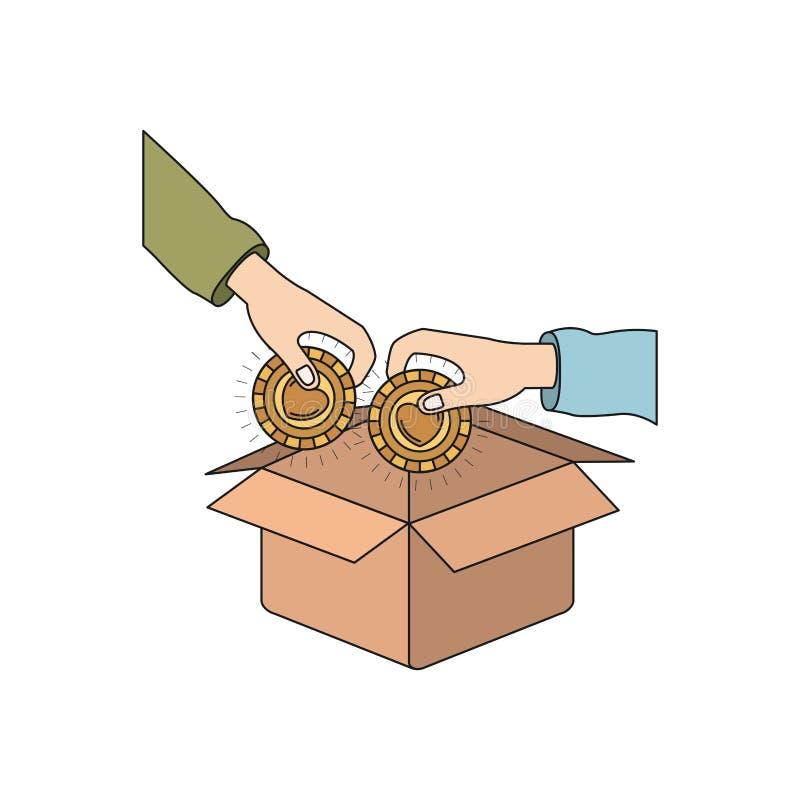 Ζωηρόχρωμη πλάγια όψη σκιαγραφιών των χεριών ζευγαριού που κρατά τα νομίσματα με τη μορφή καρδιών μέσα στην κατάθεση στο κουτί απ ελεύθερη απεικόνιση δικαιώματος