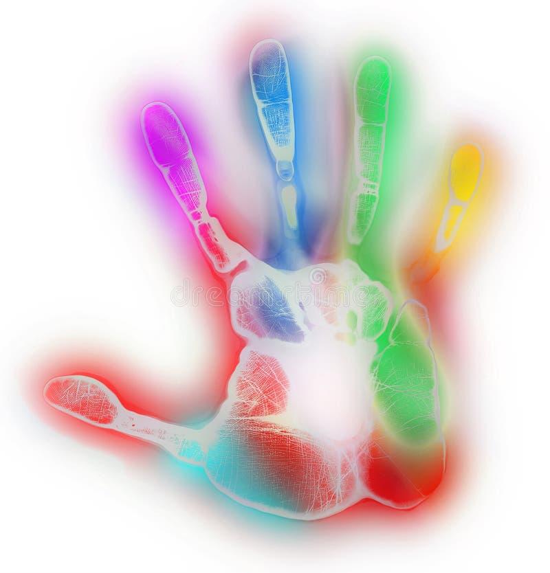 Ζωηρόχρωμη πολύχρωμη τυπωμένη ύλη χεριών στο άσπρο υπόβαθρο στοκ εικόνα