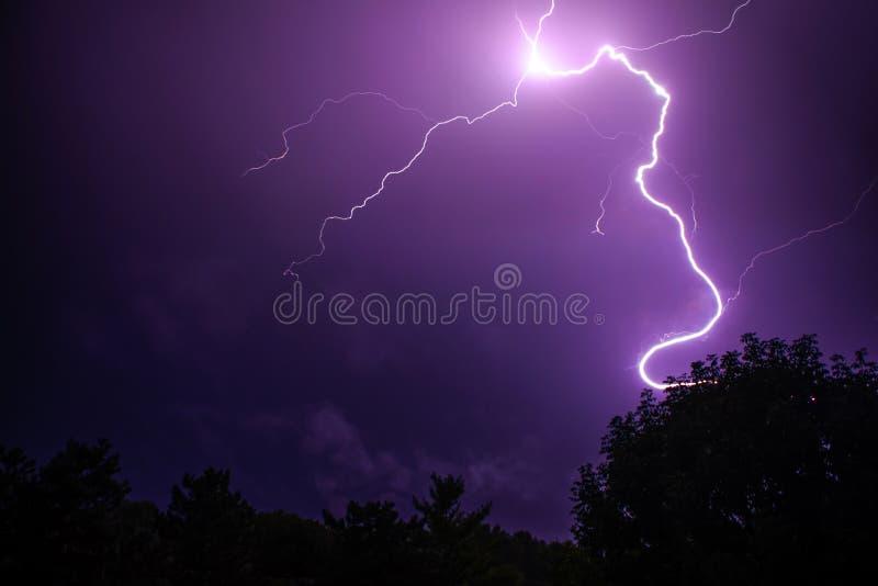 Ζωηρόχρωμη πορφυρή ρόδινη αστραπή στοκ φωτογραφίες με δικαίωμα ελεύθερης χρήσης
