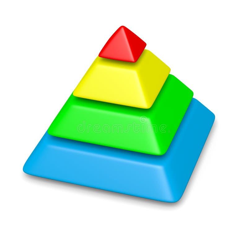 Ζωηρόχρωμη πυραμίδα 4 σωρός επιπέδων διανυσματική απεικόνιση