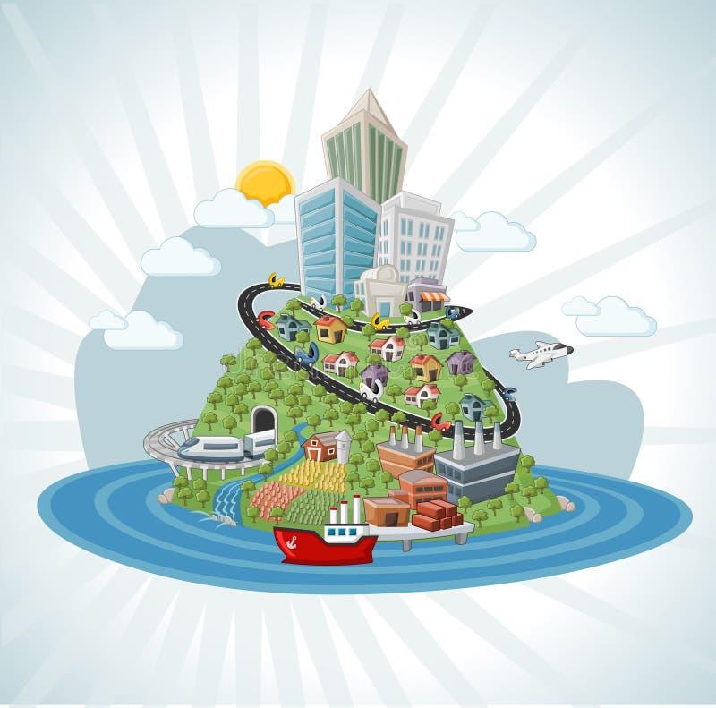 Ζωηρόχρωμη πόλη κινούμενων σχεδίων απεικόνιση αποθεμάτων