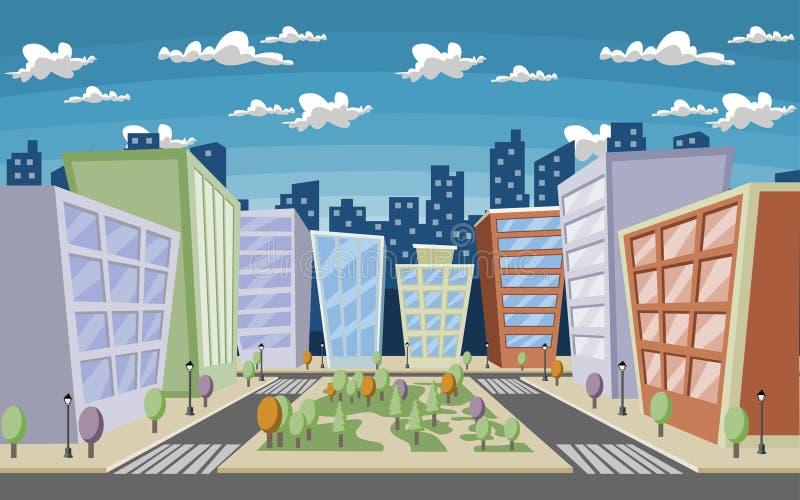 Ζωηρόχρωμη πόλη κινούμενων σχεδίων διανυσματική απεικόνιση