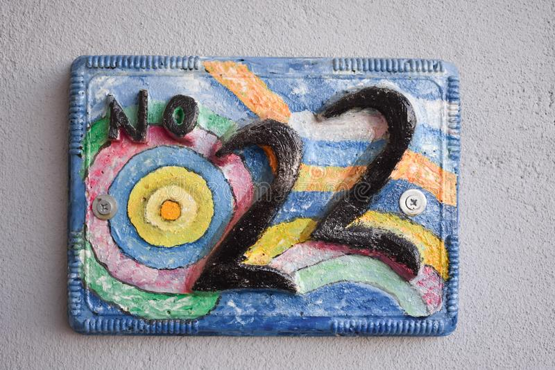 Ζωηρόχρωμη πόρτα αριθμός 22 στοκ εικόνα με δικαίωμα ελεύθερης χρήσης