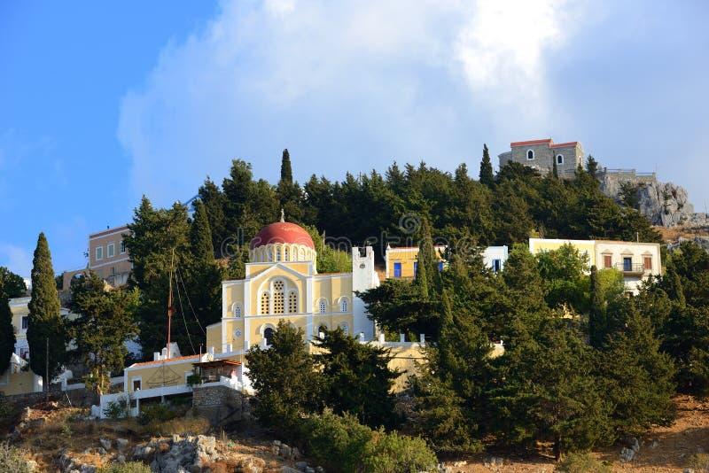 Ζωηρόχρωμη πόλη Symi, ελληνικό νησί στοκ εικόνα με δικαίωμα ελεύθερης χρήσης