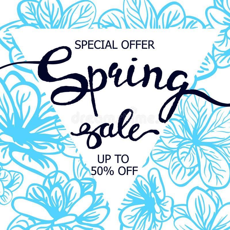 Ζωηρόχρωμη πώληση ανοίξεων αφισών watercolor διανυσματική απεικόνιση