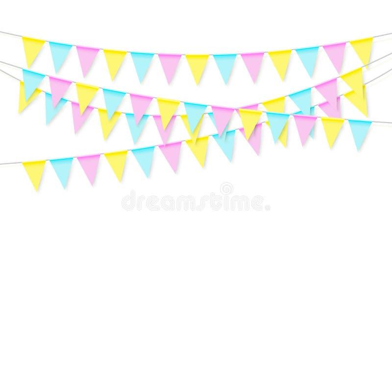 Ζωηρόχρωμη ρεαλιστική μαλακή ζωηρόχρωμη γιρλάντα σημαιών με τη σκιά Γιορτάστε το έμβλημα, σημαίες κομμάτων διάνυσμα διανυσματική απεικόνιση