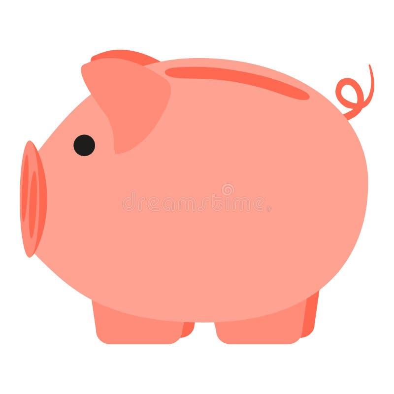 Ζωηρόχρωμη ρόδινη piggy τράπεζα κινούμενων σχεδίων ελεύθερη απεικόνιση δικαιώματος
