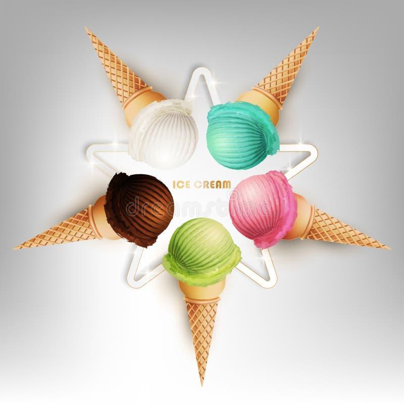 Ζωηρόχρωμη σειρά κώνων παγωτού με μορφή μορφής αστεριών, διαφορετικές γεύσεις φρούτων, διανυσματική απεικόνιση διανυσματική απεικόνιση