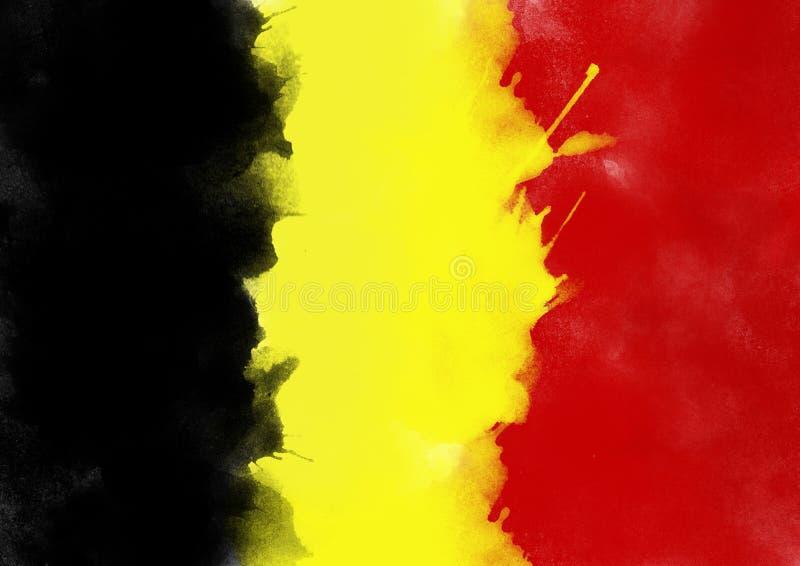 Ζωηρόχρωμη σημαία του Βελγίου από το watercolor, grunge ύφος στοκ φωτογραφία