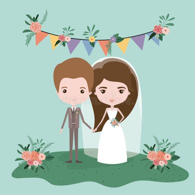 Ζωηρόχρωμη σκηνή με τις σημαίες διακοσμητικές και τη χλόη με το ζεύγος παντρεμένος ακριβώς κάτω διανυσματική απεικόνιση