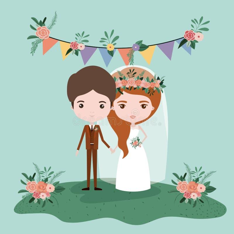 Ζωηρόχρωμη σκηνή με τις σημαίες διακοσμητικές και τη χλόη με το ζεύγος παντρεμένος ακριβώς κάτω ελεύθερη απεικόνιση δικαιώματος