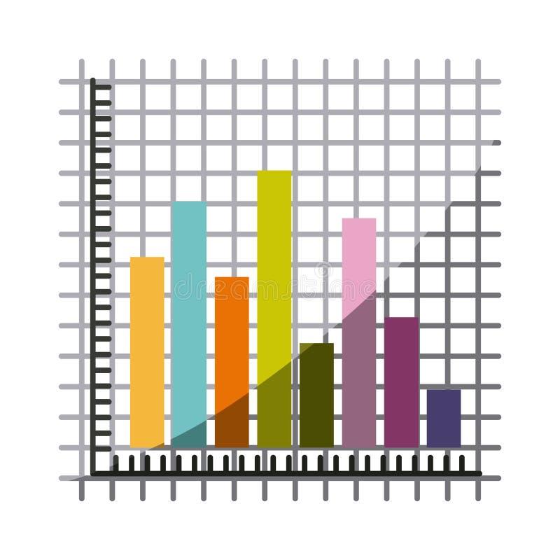Ζωηρόχρωμη σκιαγραφία με τους γραφικούς φραγμούς στατιστικής με τη μισή σκιά διανυσματική απεικόνιση